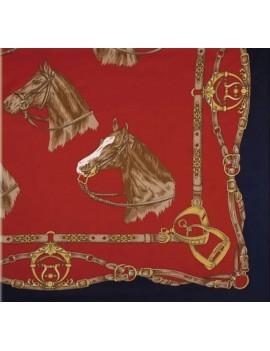 Pañuelo con motivos equinos 90x90